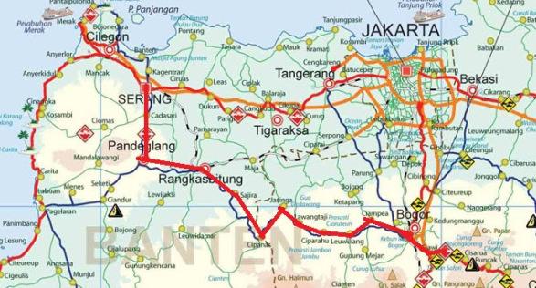 Peta perjalanan Dari Serang Ke Bogor